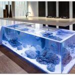 Океаническая кухня с аквариумом