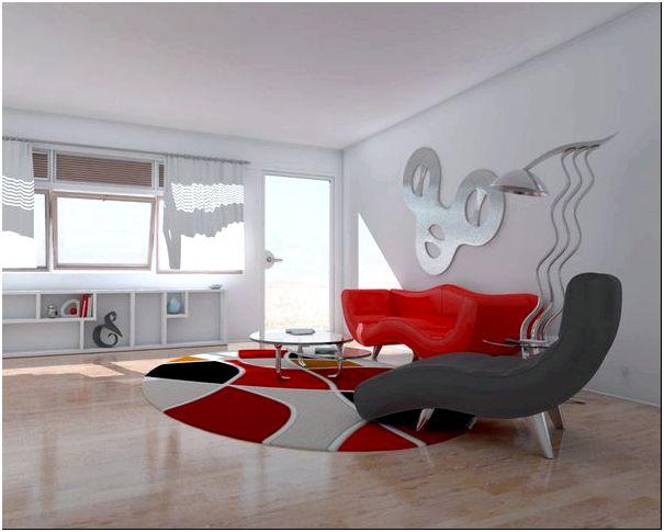 яркий красный в гостиной