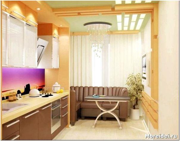 дизайн кухни 12 кв с диваном