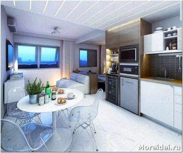 Дизайн кухни гостиной 30 кв.м