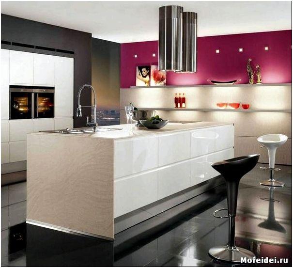 дизайн кухни в стиле хай - тек