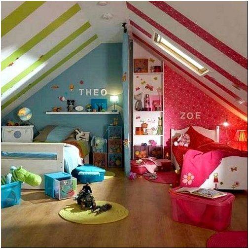 Фото 3 - Полосатые обои на потолке детской