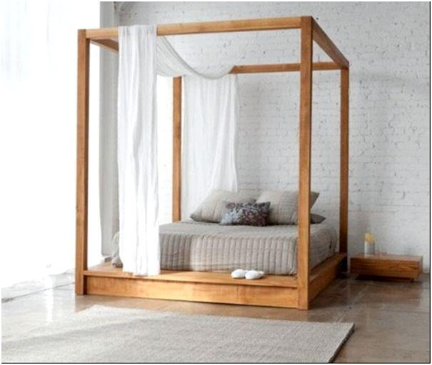 Фото 1 - Деревянная кровать-подиум с балдахином