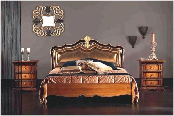 Фото 3 - Деревянная кровать Stella del Mobili Letto с кожаной обивкой изголовья золотистого цвета
