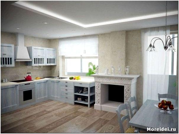 дизайн кухни - гостиной с камином