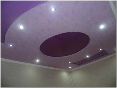 Потолок сиреневый натяжной
