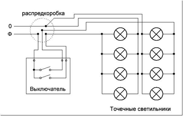 Схема 1 - Схема подключения обычных точечных светильников (220В)