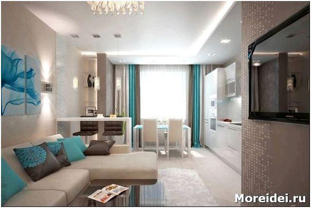 дизайн кухни гостиной 25 кв. м