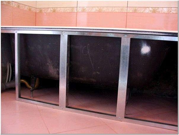 Металлический каркас для экрана под ванну из гипсокартона