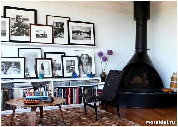 размещение фотографий на стене в квартире