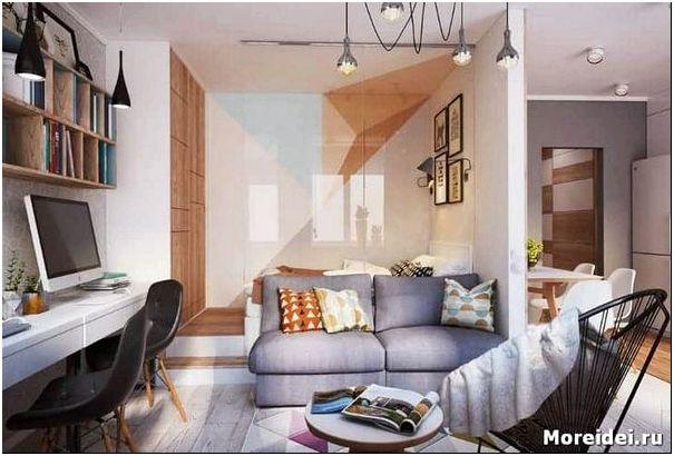 Дизайн гостиной с перегородкой