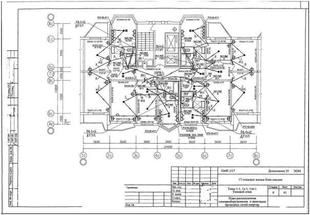 Схема 3 - Схема проводки в панельном доме