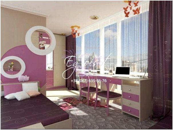 Детская комната в розовом цвете для девочек
