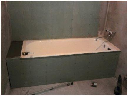 Ниша под ванной из гипсакартона