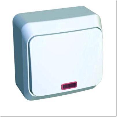 Фото 6 - Lexel Этюд белый одноклавишный выключатель с подсветкой (арт. KA10-002b)