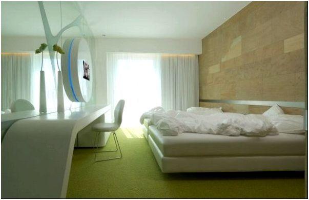 Современный дизайн спальни в зелёном цвете