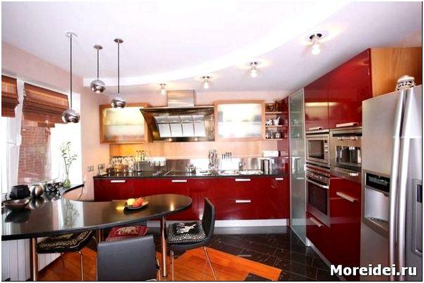 Дизайн гипсокартонных потолков на кухне фото