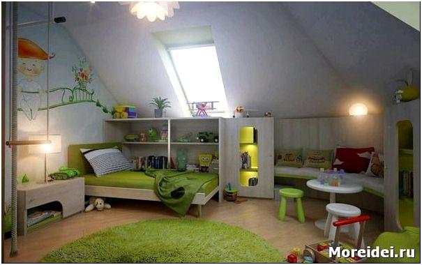 Дизайн детской комнаты в мансарде