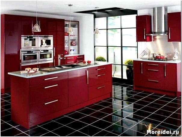 дизайн кухни в красно черно белом цвете