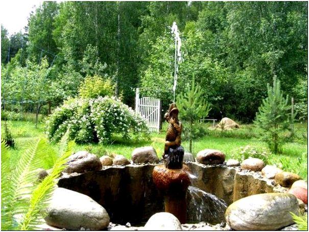 Вид фонтана с погружном насосом
