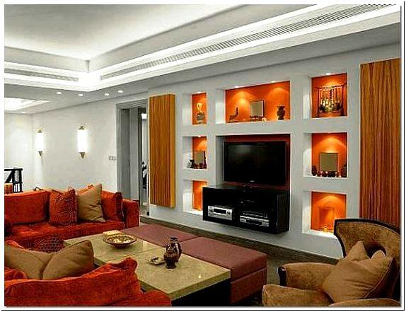 Фото 1 - Ниши из гипсокартона в гостиной, в которых можно разместить различный декор