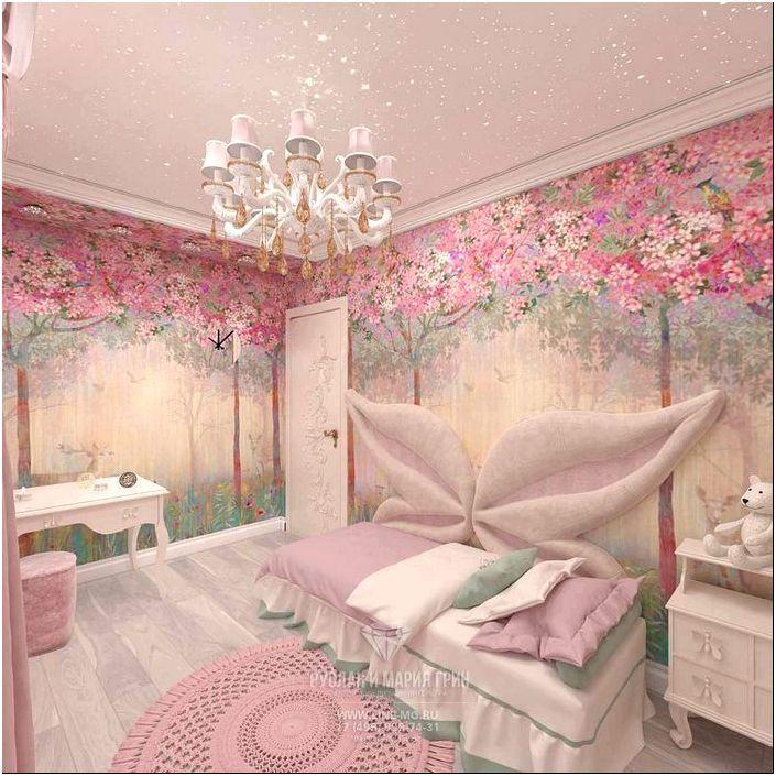 Дизайн розовой детской комнаты для девочки http://www.line-mg.ru ...