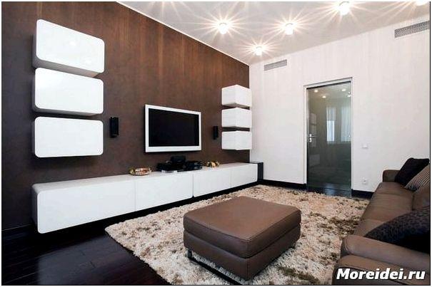 Дизайн гостиной с тёмным полом