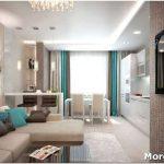 Стильный дизайн кухни гостиной 25 кв. м